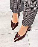 Элегантные кожаные туфли на каблуке марсалового цвета, фото 4