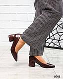 Элегантные кожаные туфли на каблуке марсалового цвета, фото 2