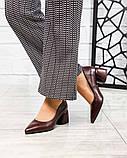 Элегантные кожаные туфли на каблуке марсалового цвета, фото 3