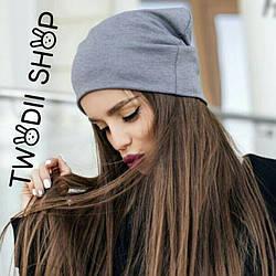 Женская  трикотажная шапка, серого цвета