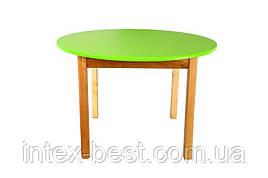 Деревянный (салатовый) столик с круглой столешницой Bambi (Финекс Плюс)