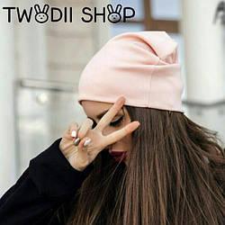 Женская трикотажная шапка ,розового цвета