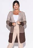 Женский кардиган коричневого цвета в стиле колор-блок. Модель 22909. Размер 46-50