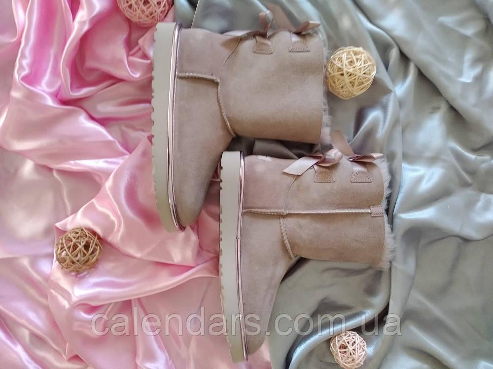 Угги брендовые средние с бантом розовые