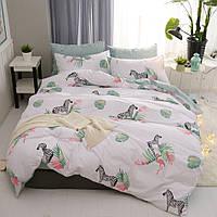 Комплект постельного белья Зебра и фламинго (двуспальный-евро)  Berni
