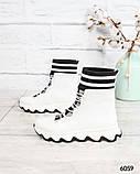 Стильные спортивные ботинки демисезонные женские белые кожаные, фото 5