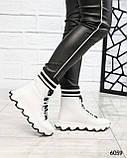 Стильные спортивные ботинки демисезонные женские белые кожаные, фото 7