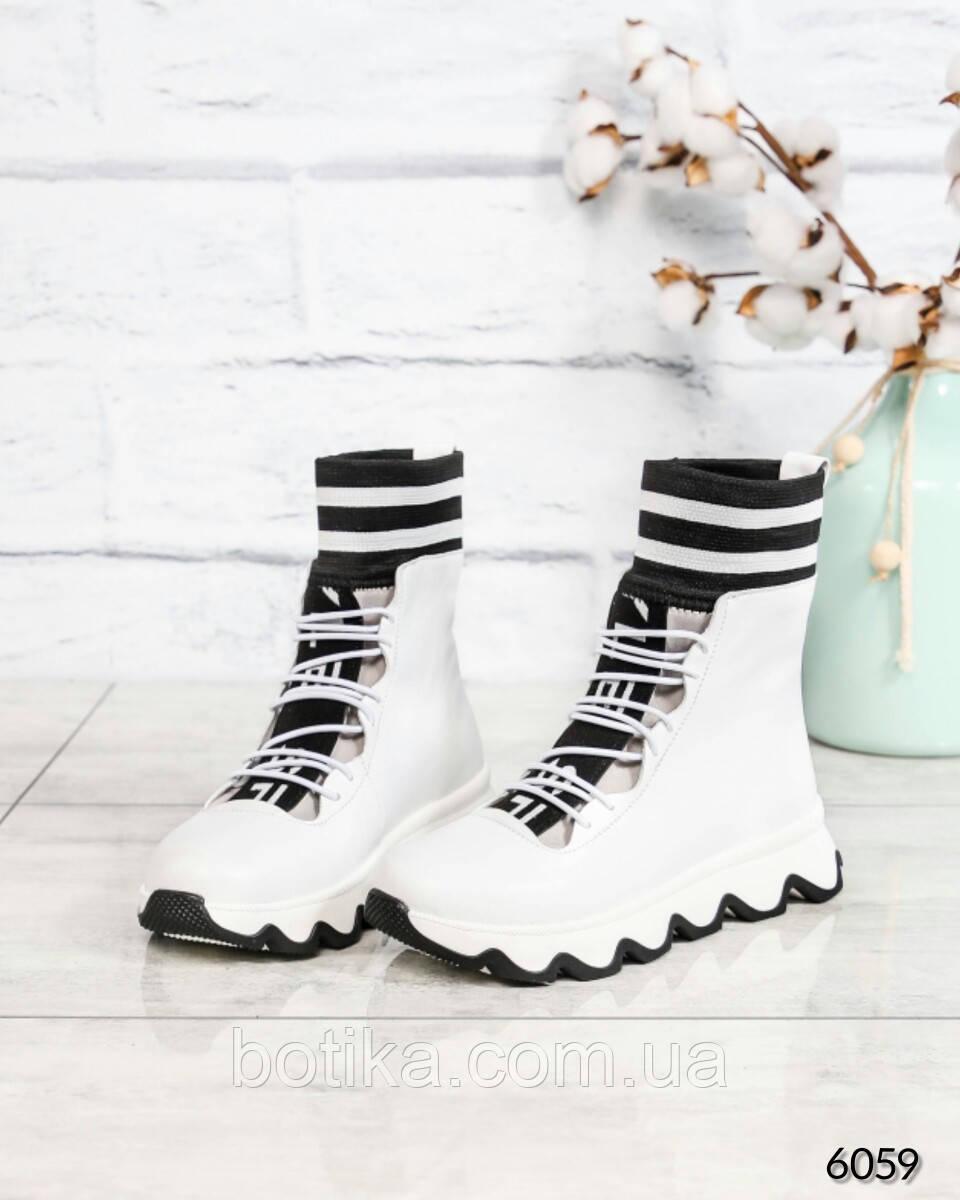 Стильные спортивные ботинки демисезонные женские белые кожаные