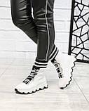 Стильные спортивные ботинки демисезонные женские белые кожаные, фото 4