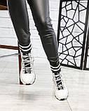 Стильные спортивные ботинки демисезонные женские белые кожаные, фото 3