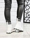 Стильные спортивные ботинки демисезонные женские белые кожаные, фото 8