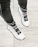 Стильные спортивные ботинки демисезонные женские белые кожаные, фото 9
