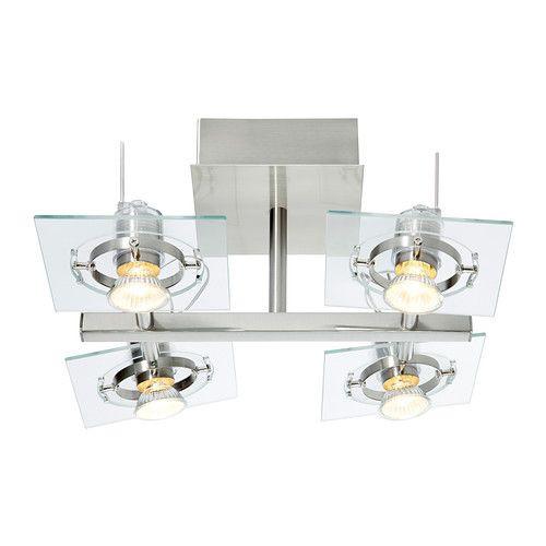 """IKEA """"ФУГА"""" Потолочный софит, 4 ламп, хромированный, прозрачное стекло"""