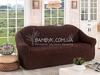 Чехол натяжной на трехместный диван без оборки Venera шоколад