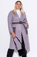 Женское пальто из букле розового цвета. Модель 22992. Размеры 50/52, 54/56, фото 1