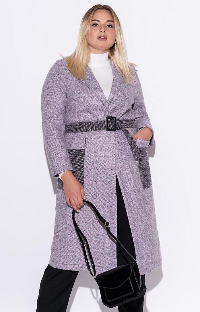 Женское пальто из букле розового цвета. Модель 22992. Размеры 50/52, 54/56