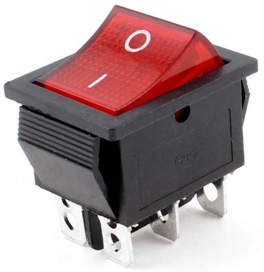 Переключатель, кнопка KCD4-202 AC 250В 16А с подсветкой 6-ть контактов - Красный
