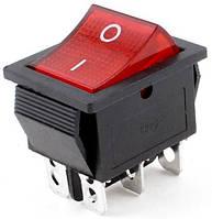 Переключатель, кнопка KCD4-202 AC 250В 16А с подсветкой 6-ть контактов - Красный, фото 1