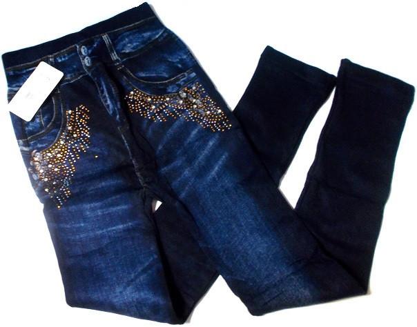 Лосины джинс на махре со стразами №182