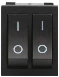 Переключатель двойной, кнопка KCD8-212N AC 250В 15А 6-ть контактов - Черный