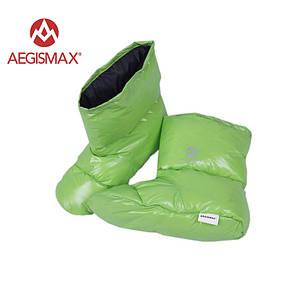 Пуховые носки (зимние), обувь из пуха Aegismax Размер L 24-27см зеленые.