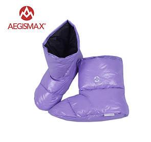Пуховые носки (зимние), обувь из пуха Aegismax Размер L 24-27см. фиолетовые