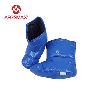 Пуховые носки (зимние), обувь из пуха Aegismax Размер M 22-25см синие.