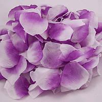 Искусственные лепестки роз фиолетовые с белым, 600 шт.