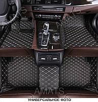 Коврики Audi Q7 из Экокожи 3D (2015+) Чёрные с Бежевой нитью