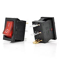 Выключатель, кнопка KCD1-102 AC 250В 6А с подсветкой - Красный