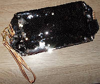 Косметичка c пайетками 23х12х8 черная
