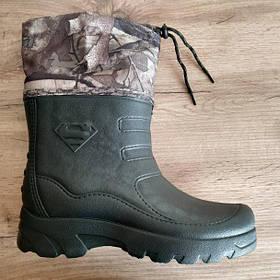 Гумові чоботи чоловічі зимові зелені Krok. Мужские резиновые зимние зелёные ботинки