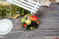 Заколка в волосы осенняя с яблоком и виноградом, фото 1