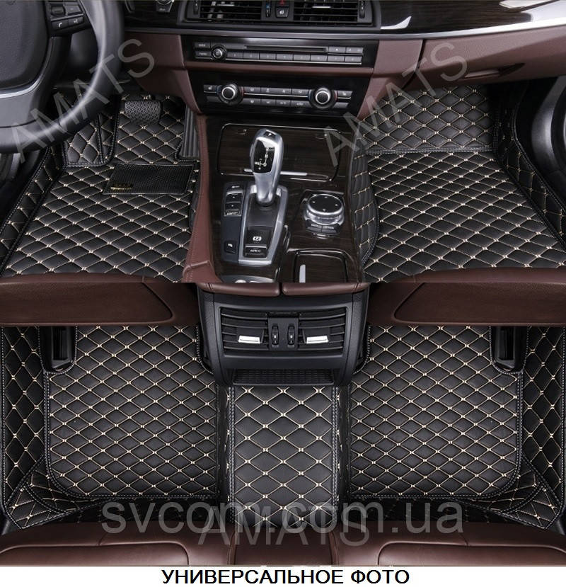 Коврики Mercedes МL GLE из Экокожи 3D (W166 2012+) Чёрные с Бежевой нитью