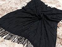 Шарф палантин черный с бахромой стильный (Турция)