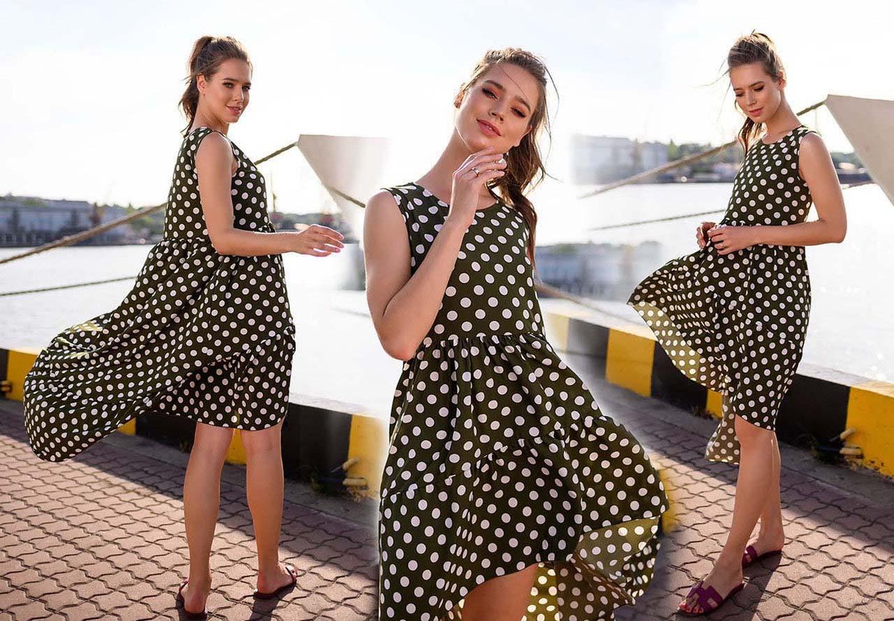 """Летнее стильное платье до больших размеров 41321 """"Софт Горох Воланы Каскад"""""""