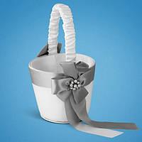 Свадебная корзинка для лепестков роз, серебристый цвет, 22*10,5*9,5 см (арт. 0711-4)