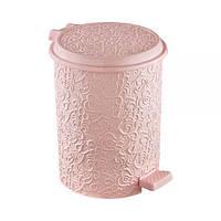 Ведро для мусора Ажур с педалью розовое Ivy Elif plastik 325-3LF