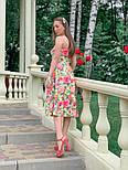 Летнее платье в цветочный принт с пышной юбкой миди vN4792, фото 2