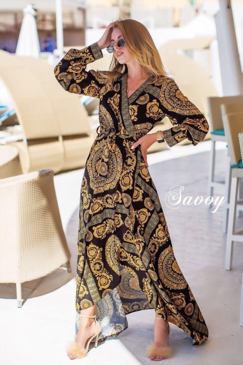 Принтованное длинное платье - халат на запах vN4807