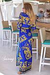 Принтованное длинное платье - халат на запах vN4807, фото 3