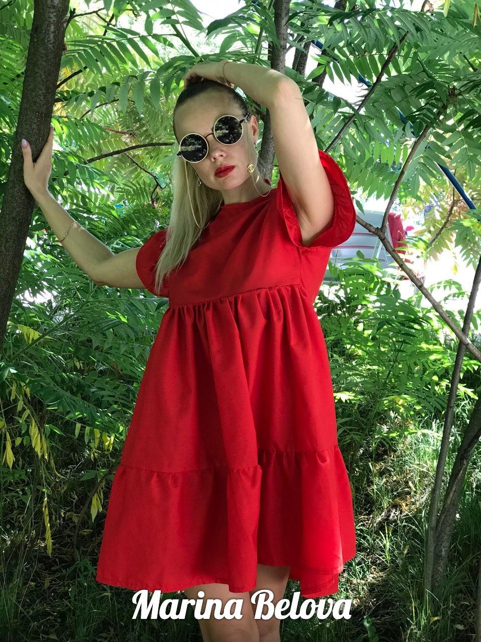 Свободное хлопковое платье на лето с оборками и коротким рукавом vN4860