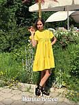 Свободное хлопковое платье на лето с оборками и коротким рукавом vN4860, фото 3