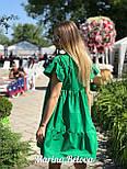 Свободное хлопковое платье на лето с оборками и коротким рукавом vN4860, фото 4