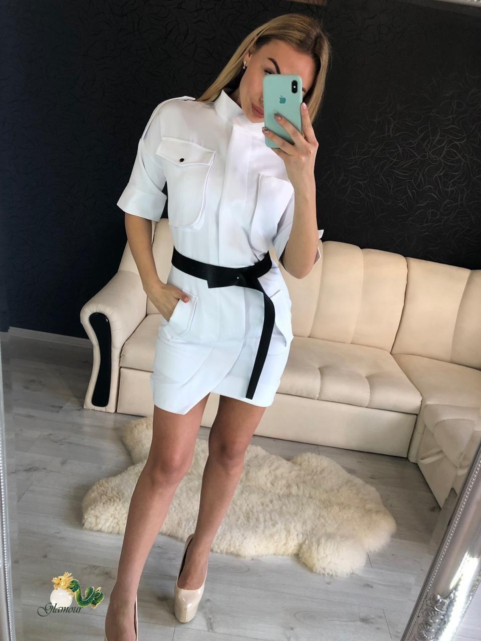 Летнее платье - сафари приталенного кроя с рукавом до локтя vN4861