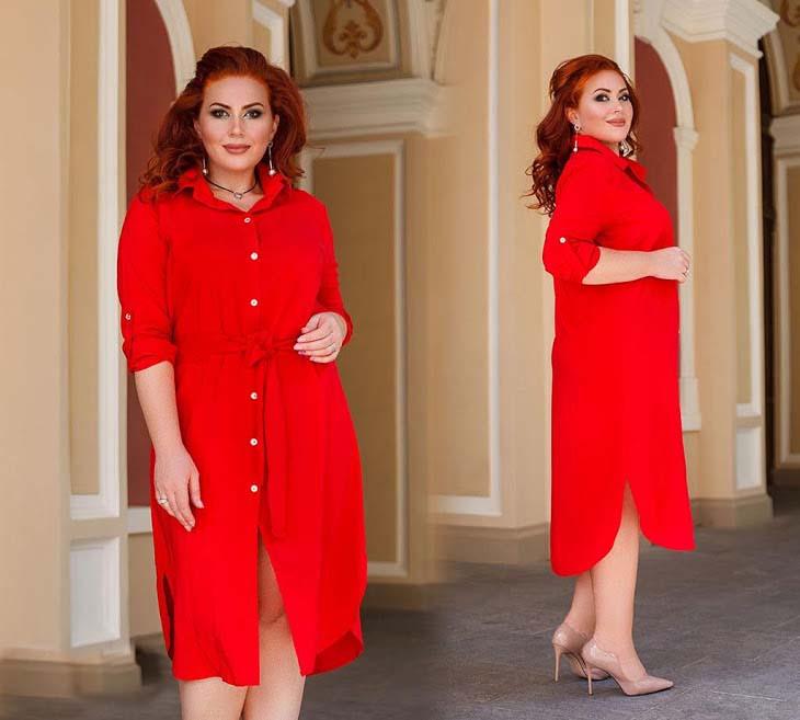 """Женское платье-рубашка в больших размерах 4128-1 """"Штапель Миди Поясок"""" в расцветках"""