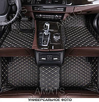 Коврики Toyota Highlander из Экокожи 3D (2014+) Чёрные с Бежевой нитью
