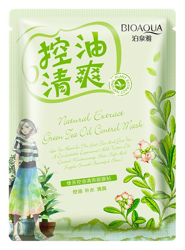 Маска для жирной кожи с зелёным чаем BIOAQUA Green Tea Oil Control Mask