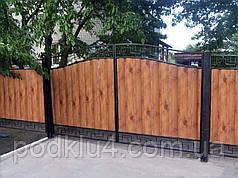 Ворота распашные с блок-хаусом