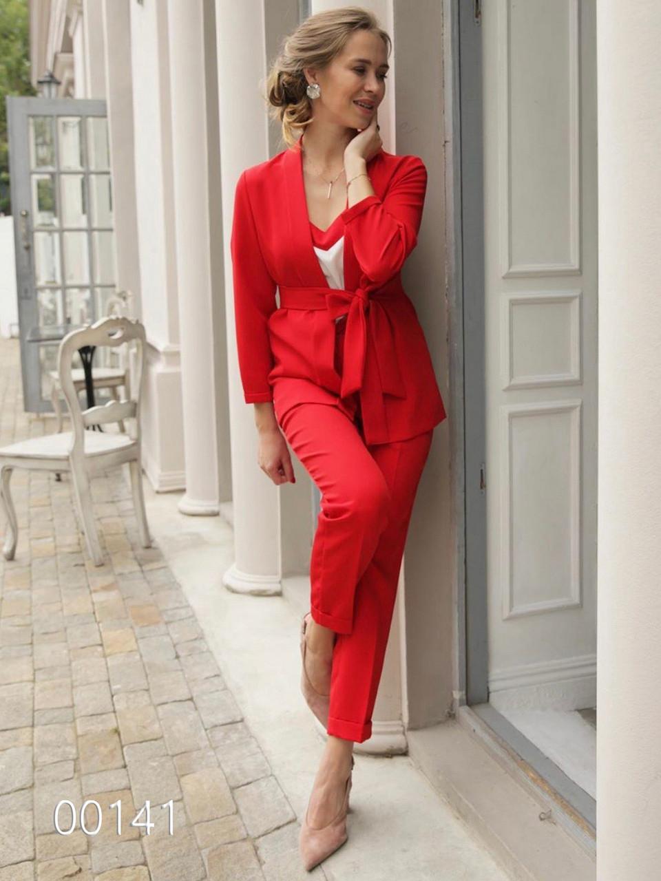 Женские брючные костюмы на выпускной, 00141 (Красный), Размер 46 (L)
